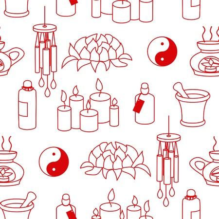Monochromatic Feng Shui seamless pattern in simple style