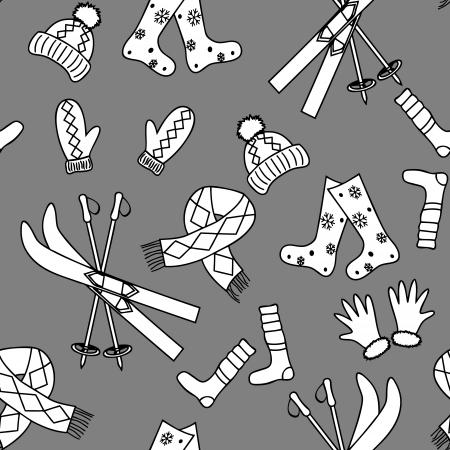 Monochromatic winter seamless pattern in simple style Illustration