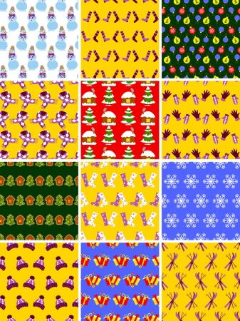 Twelve simple Christmas seamless patterns Vector