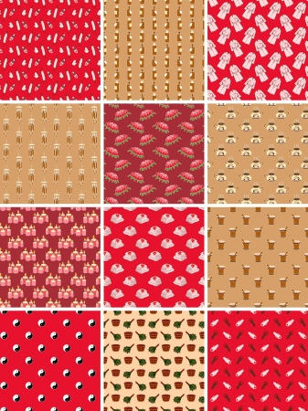 feng shui: Twelve simple spa seamless patterns