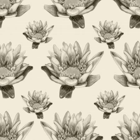 Bright pencilled lotus seamless pattern