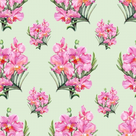 Beautiful pencilled pink orchid seamless pattern Stock Photo