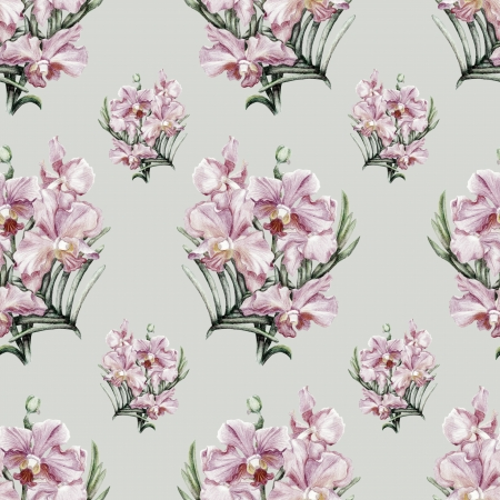 Beautiful pencilled pink orchid vintage seamless pattern