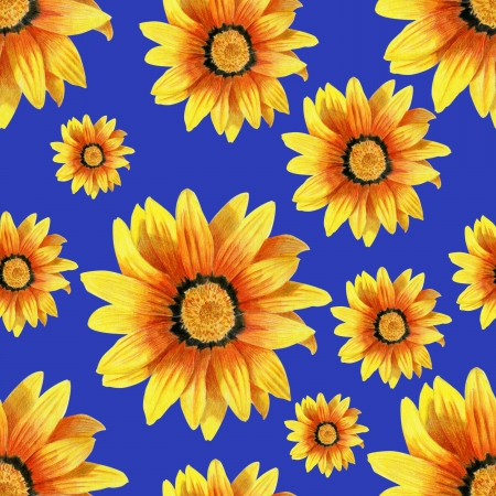Dahlia flower seamless pattern on blue background Stock Photo