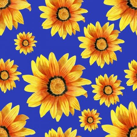georgina: Dahlia flower seamless pattern on blue background Stock Photo