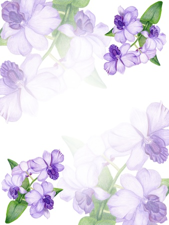 lilac background: Gentle floral invitation with lilac orchid Stock Photo