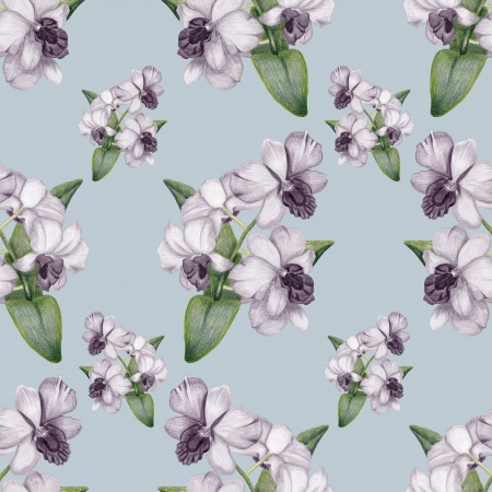 Beautiful penciled lilac orchid vintage seamless pattern