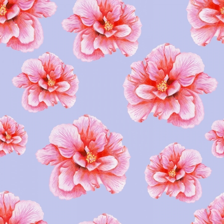 Bright penciled pink hibiscus pattern Stock Photo