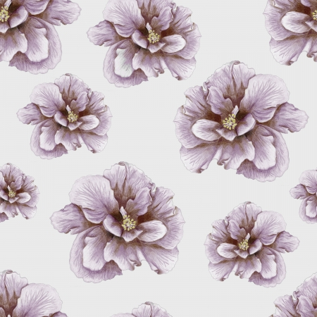 Vintage penciled hibiscus seamless pattern Stock Photo