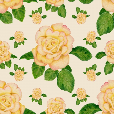 Gentle pattern with golden roses