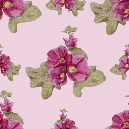 Gentle pattern with hollyhock flowers and leaves Stock Photo