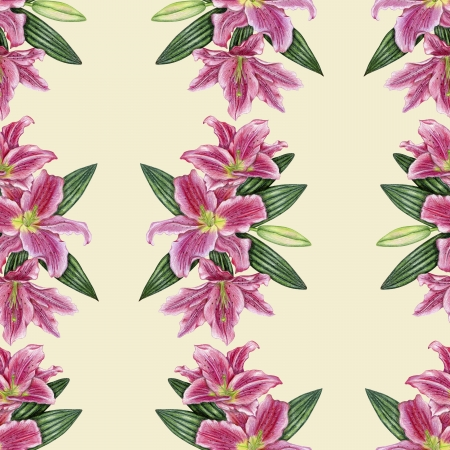 Gentle pattern with pink lily flowers  Stock Photo