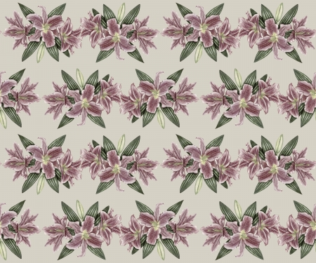 Gentle vintage pattern with pink lily flowers Stock Photo