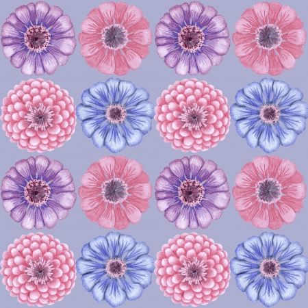 Vintage seamless pattern with zinnia flowers  Stock Photo