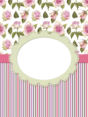 Card with roses and frame on striped background Stock Photo