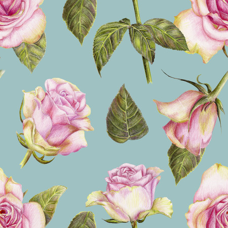Beautiful pencilled pattern with roses on blue background