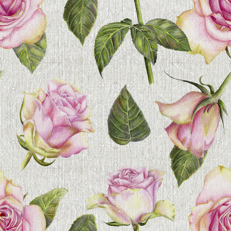 Beautiful pencilled pattern with roses on canvas