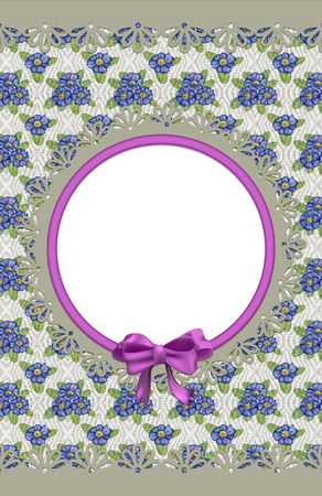 Card with primulas and frame on canvas photo