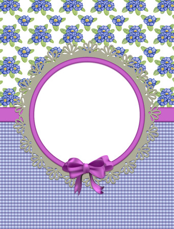 primula: Card with primulas and frame on combined background