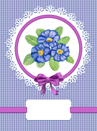 primula: Card with primulas and frame on checked background Stock Photo