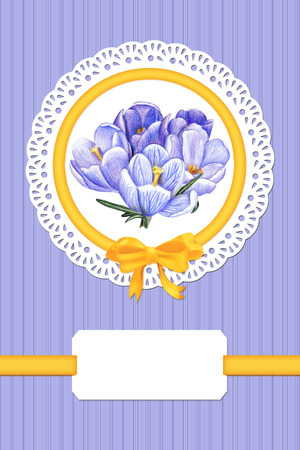 Card with crocuses and frame on blue background