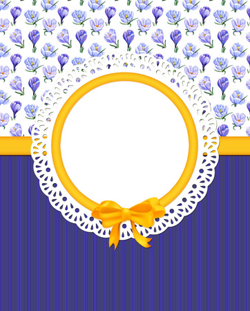 Card with crocuses and frame on combined background Stock Photo
