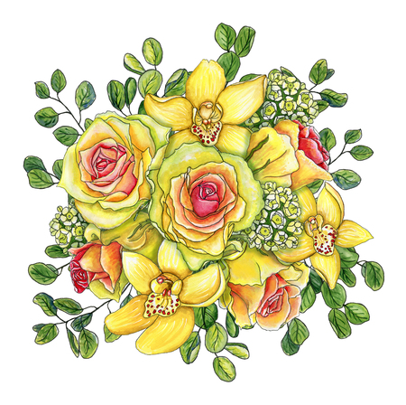 Bright watercolor flower bouquet with yellow-pink roses, orchids, waxflower and green leaves of eucalyptus isolated on white