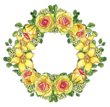 Bright floral wreath of yellow orchids, waxflowers, roses and twigs of eucalyptus isolated on white with place for text ? watercolor paint Stock Photo