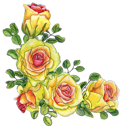 Painted with watercolor corner with bright yellow roses and leaves of eucalyptus isolated on white