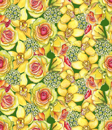 Bright seamless pattern with of yellow orchids, waxflowers and roses painted with watercolor on white background