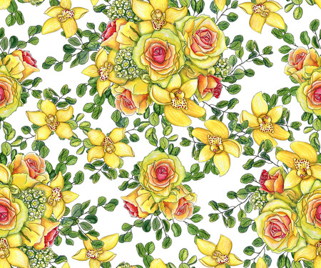 Bright seamless pattern with bouquets of yellow orchids, waxflowers, green eucalyptus and roses painted with watercolor on white background Stock Photo
