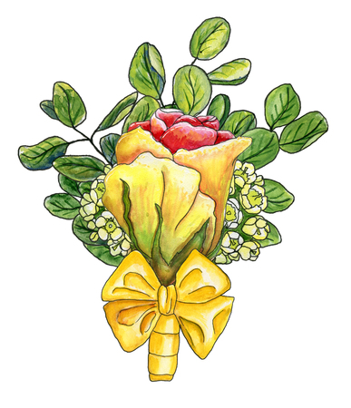 Watercolor boutonniere with yellow-red rose, waxflower,  twigs of eucalyptus and silk bow isolated on white