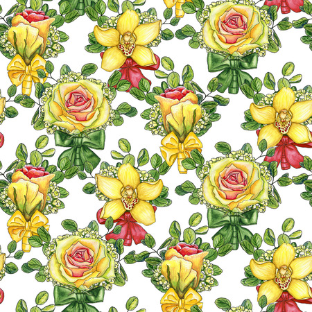 Seamless pattern with wedding boutonnieres  of watercolor roses, orchid, eucalyptus and silk bows