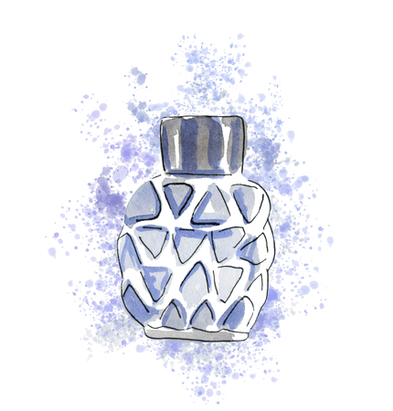 Hand-drawn sketch with gray man s perfume bottle. Watercolor and ink fashion illustration. Template for card, banner, fabric, invitation