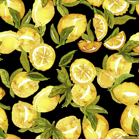 Pattern with lemons on black Stok Fotoğraf - 114659369