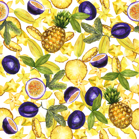 Yellow and violet tropic pattern Stock Photo