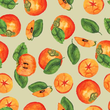 Persimmon pattern on beige Stockfoto