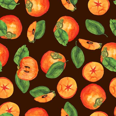 Persimmon pattern on dark brown Stockfoto