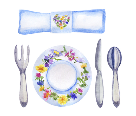 Watercolor table setting with flowers on white Stock Photo
