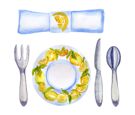 Watercolor table setting with lemons on white Stock Photo
