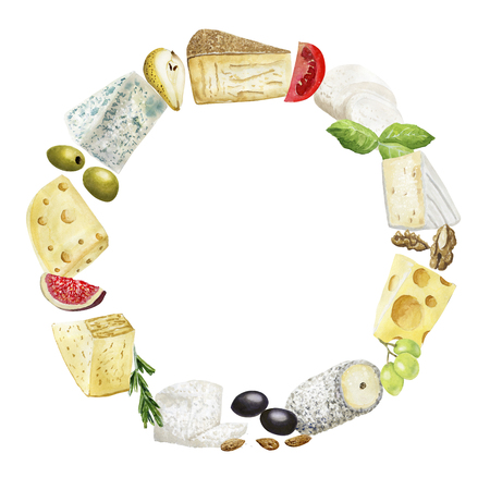 Watercolor round cheese frame