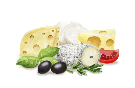 Watercolor cheese composition 写真素材