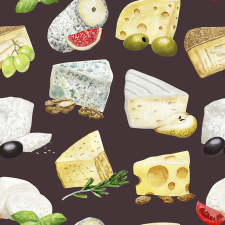 Watercolor seamless pattern with cheese and addings on dark 写真素材