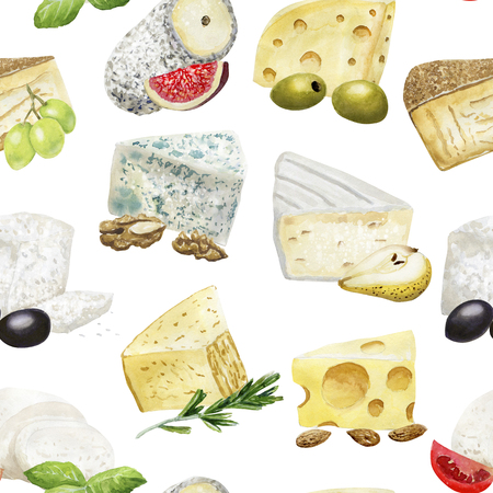 Watercolor seamless pattern with cheese and addings
