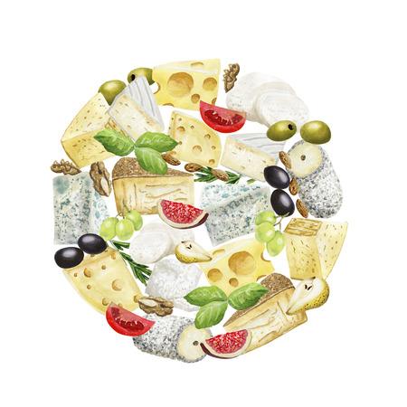 Watercolor cheese circle