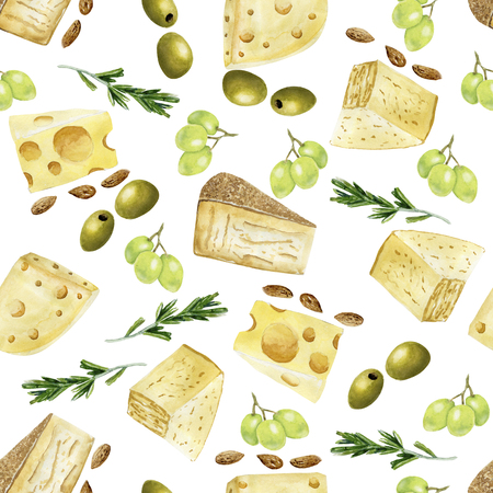 Watercolor seamless pattern with yellow cheese Standard-Bild - 117841092