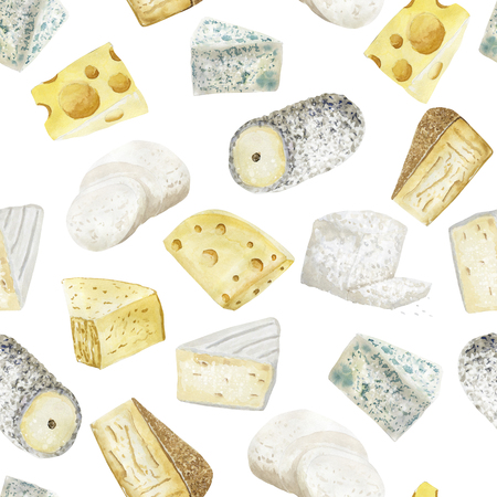 Watercolor seamless pattern with cheese