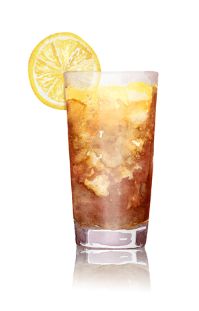 Hand drawn watercolor long island ice tea cocktail on white background