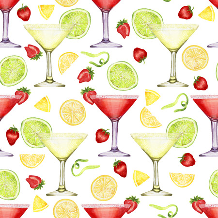 Hand drawn watercolor daiquiri and margarita pattern on white