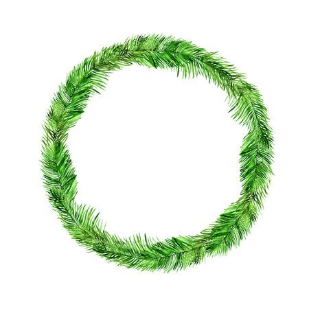 Guirnalda de acuarela con hojas de palmera y lugar para texto